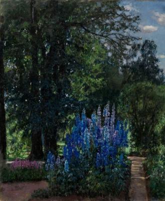Станислав Юлианович Жуковский. Люпинусы в летнем саду (Цветущая наперстянка)