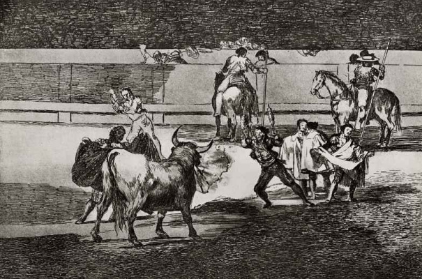 """Francisco Goya. A series of """"Tauromachia"""", page 31: Banderillas with ratchet"""