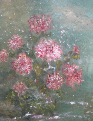 Rita Arkadievna Beckman. Unexpected snow falls veil on chrysanthemum