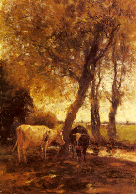 Willem Maris. Cattle at a stream