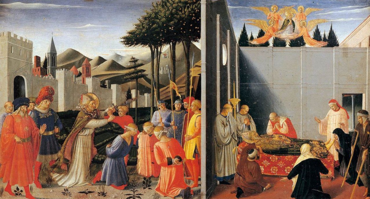 Fra Beato Angelico. The limit of the altar from Perugia. Rescue sentenced to death and the assumption of St. Nicholas