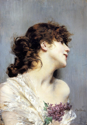 Giovanni Boldini. Portrait of a girl with a branch of lilac