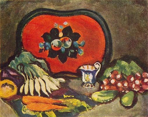 Petr Petrovich Konchalovsky. Still life. Tray and vegetables