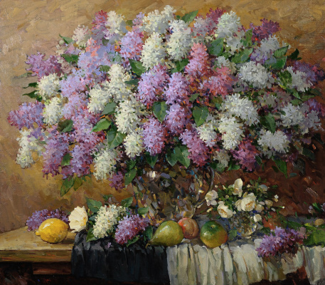 Alexander Victorovich Shevelyov. Lilac in the glass. Oil on canvas, 70,5 x 80,5 cm 2016