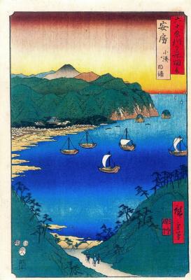 Утагава Хиросигэ. Паруса в заливе Коминато провинции Ава