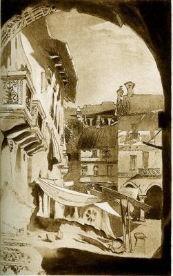 John Ruskin. City street Vercelli, Italy