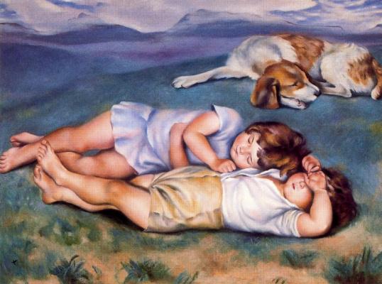 Маленькие дети и собака