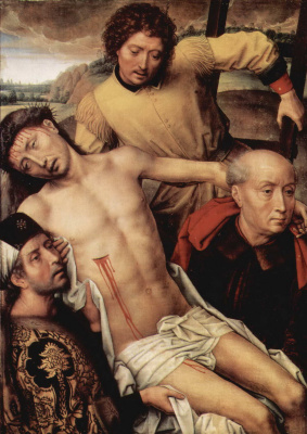 Hans Memling. The descent from the cross. Diptych Of Granada. The left part