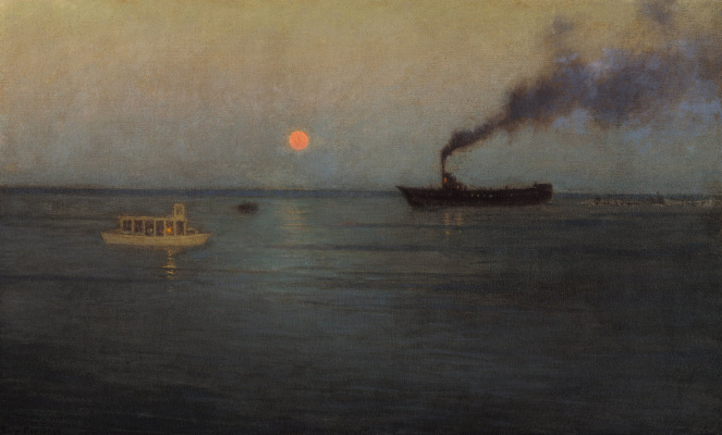 Birge Harrison. Rosy Moon Off Charleston Harbor
