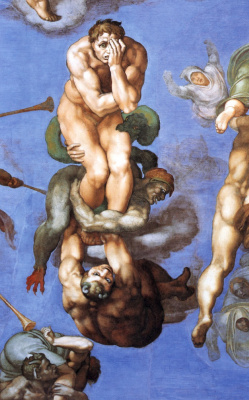 Michelangelo Buonarroti. Last judgment, detail: the Damned in the underworld