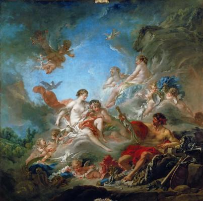 Francois Boucher. A volcano handing Venus a weapon for Aeneas