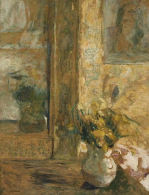 Jean Edouard Vuillard. A vase of flowers in front of the mirror