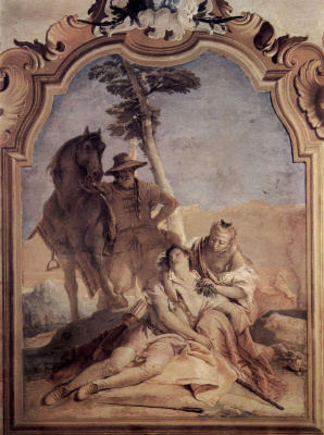 Giovanni Battista Tiepolo. Angelica accompanied by a shepherd treats Medora herbs. The frescoes of the Villa Valmarana. Vicenza