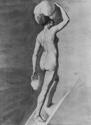 """Julius Schnorr von Karolsfeld. Sketch for composition """"the Emperor Charles and the leader of the Franks in Paris"""": a Nude model with a burden on his head"""