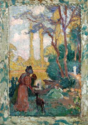 Анри Лебаск. Молодая женщина и дети в парке