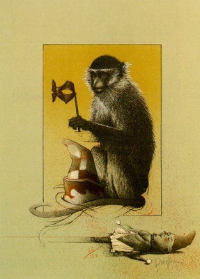 Michael Parkes. The monkey and the mask