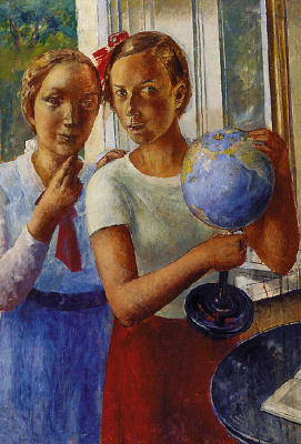 Kuzma Sergeevich Petrov-Vodkin. Portrait of the daughter with globe