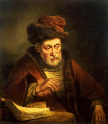 Карел ван дер Плейм. Портрет старика с очками в руках