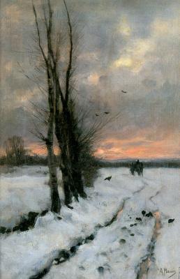 Антон Мауве. Зимний пейзаж на закате