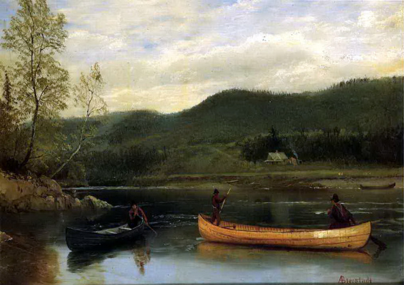 Альберт Бирштадт. Двое мужчин в лодке