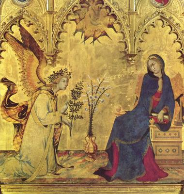 Симоне Мартини. Триптих Благовещения. Дева Мария. Фрагмент