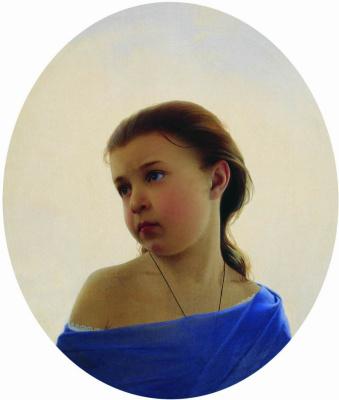 Sergey Konstantinovich Zaryanka. A girl in a blue dress. Portrait of Natalia Sergeevna Zaryanko, the artist's daughter