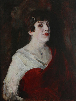 Pavel Petrovich Benkov. The lady in red. Portrait of Actress V. Shmulevich