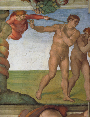 Michelangelo Buonarroti. The fall and expulsion from garden of Eden (detail)