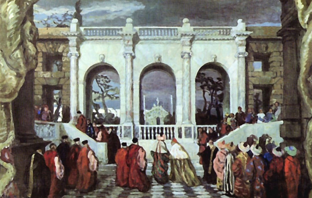 """Alexander Nikolaevich Benoit. Venetian holiday in the 16th century. Design for an unrealized production of """"Games"""" Debussy"""