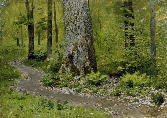 Isaac Levitan. Trail in deciduous forest. Ferns