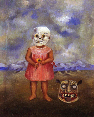Frida Kahlo. Girl with Death mask