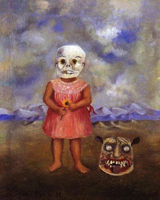 Frida Kahlo. Girl with Death mask
