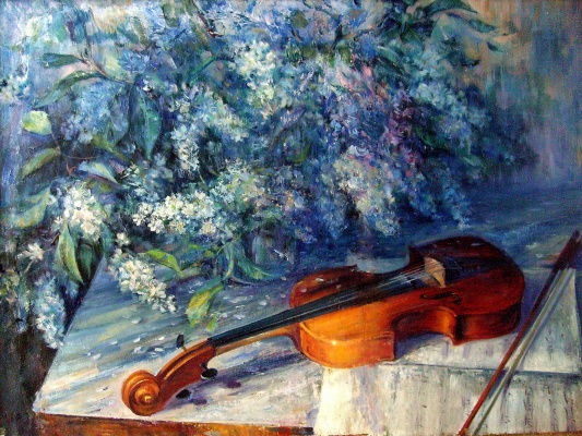 Konstantin Leonidovich Antipov. Bouquet and violin