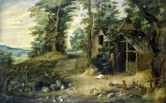 David Teniers the Younger. Landscape. Meeting of saints Anthony and Paul