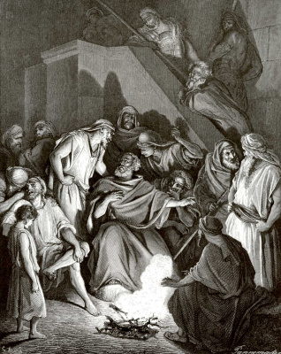 Paul Gustave Dore. Illustration to the Bible: Peter's denial