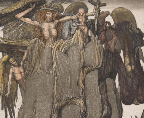 Ernst Fuchs. Prison Icarus. Fragment 1