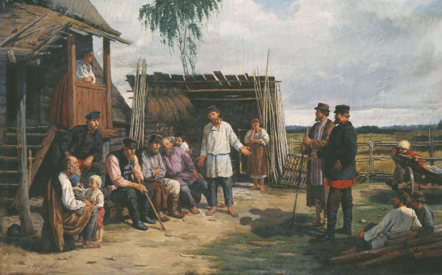 Firs Sergeevich Zhuravlev. Peasant gathering. 1870s 71 x 111 white canvas Volsky Local History Museum