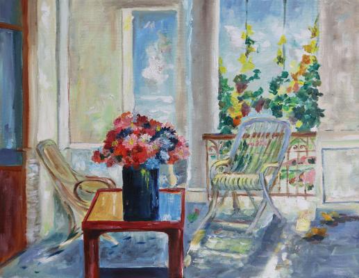 Tatyana Nikolaevna Antonova. Flowers on the veranda