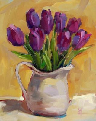 Angela Moulton. Purple tulips in a jug