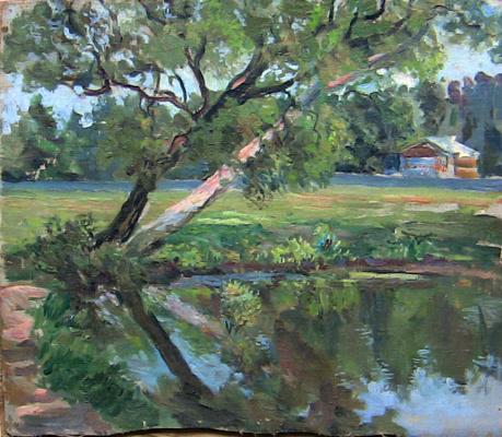 Елена Дмитриевна Чичагова-Россинская. Дерево у пруда.  1950-е.