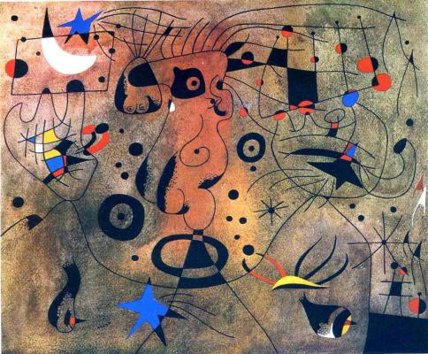 Хуан Миро. Женщина со светлыми подмышками причесывающаяся в свете звёзд