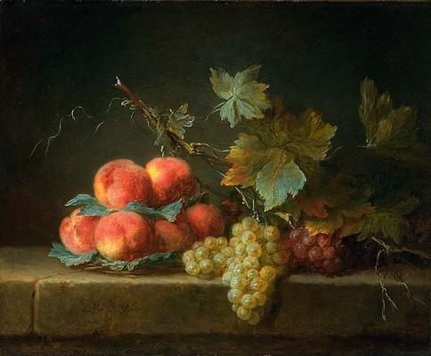 Анна Валайер-Костер. Натюрморт с персиками и виноградом