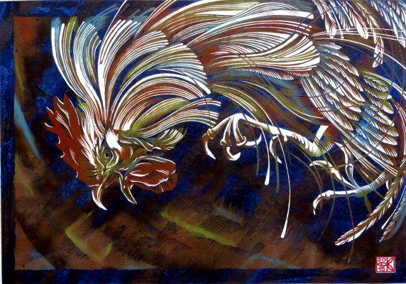 """Vladimir Kataev. """"Invariance-cock-1"""", X3/M, A/R, 50 X 72 cm, 2015"""