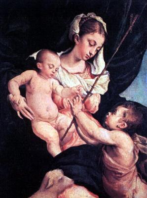 Якопо да Понте Бассано. Мадонна с младенцем и Иоанном
