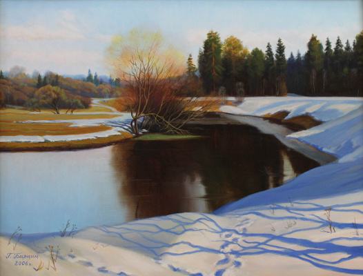 Gennady Shotovich Bartsits. Spring day on the Ucha river