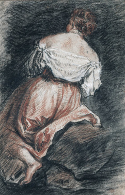 A seated woman seen from behind, after Bassano