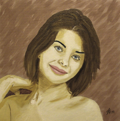 Artashes Vladimirovich Badalyan. Portrait of a young woman - x-hardboard-m - 30x30