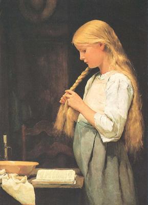 Альберт Анкер. Девочка, заплетающая волосы