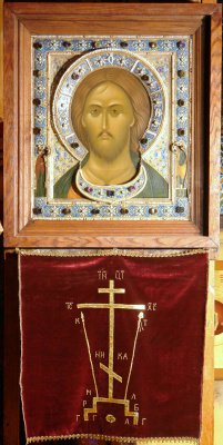 Moscow Icon Painting Workshop. Icon of Christ Pantocrator with the upcoming precious setting