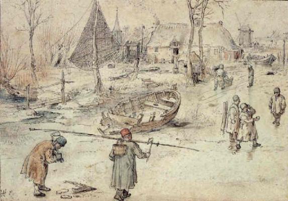 Хендрик Аверкамп. Зимняя сцена с рыбаками и играющими детьми
